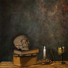 Skull & lit candle still life by DirkNoort Still Life Photography #InfluentialLime
