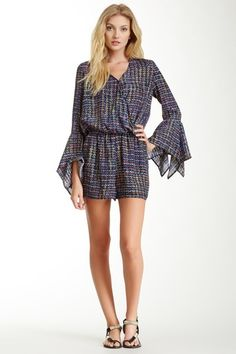Abstract Handkerchief Sleeve Romper by Romeo & Juliet Couture on @HauteLook