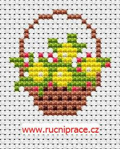 Flower basket - free cross stitch pattern