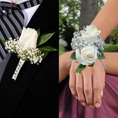 Coordinating white rose wrist corsage and boutonniere. Prom Corsage And Boutonniere, White Boutonniere, Boutonnieres, Wrist Corsage Wedding, White Corsage, Flower Corsage, Prom Flowers, Wedding Flowers, Wedding Day