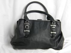 Simply Vera Wang Black Handbag Purse Bag Silver Clasp & Findings 3 Compartments #SimplyVerabyVeraWang #Satchel