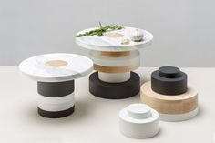 Piédestaux is a minimalist design created by Canada-based designer mpgmb. Sottsass-inspired stackable food pedestal allowing many configurations to play with. Inspired by the work of Ettore Sottsass, the design was created by Montreal's Marie-Pier Guilmain and Maud Beauchamp, aka mpgmb. (1)