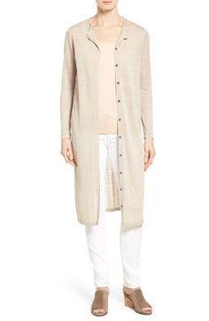 Eileen Fisher -  Long Organic Linen Blend Crewneck Cardigan C$ 373.46