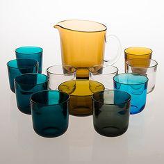"KAJ FRANCK - Glass pitcher bowl and ten drinking glasses ""Fasetti"" by Nuutajärvi Finland. Glass Design, Design Art, Art Of Glass, All Themes, Kitchen Dinning, Glass Pitchers, Glass Vessel, Wine And Spirits, Mid Century Design"