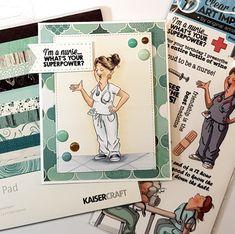 HOBBYKUNST art impression sykepleierkort kaisercraft Art Impressions, Copic, Coco Chanel, Super Powers, It's Your Birthday, Baseball Cards, The Originals, Artist, Books