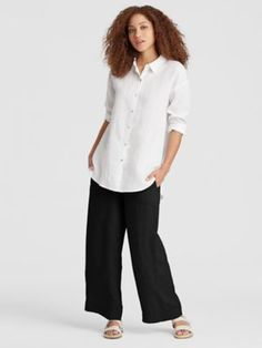 0eafb563490 Organic Handkerchief Linen Wide-Leg Pant-S8OLA-P3951. Wide Leg Linen PantsEileen  FisherSingapore