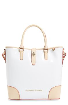 This pretty white structured tote is so classy.