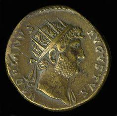 Moneda de aleación de cobre de Adriano, Roma Imperial 117-138 AD