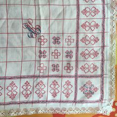 A personal favourite from my Etsy shop https://www.etsy.com/uk/listing/464068327/antique-french-kitchen-towel-sampler-red