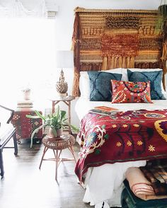 We never sleep in past because our dogs are the world's most annoying alarm clock more time to enjoy coffee in bed though! Hippie Home Decor, Boho Decor, Hippy Bedroom, Coffee In Bed, Senior Home Care, Stylish Bedroom, Bohemian Interior, Do It Yourself Home, Beautiful Bedrooms