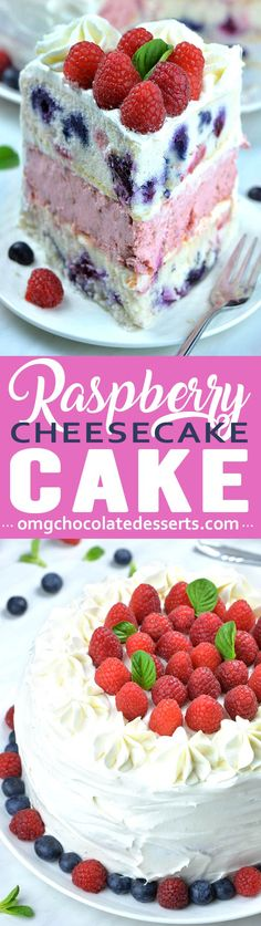 Raspberry Cheesecake Cake Raspberry Cheesecake is refreshing summer dessert made up of two tender layers of white cake dotted with juicy raspberries and blueberries and raspberry cheesecake sandwiched in the middle. Köstliche Desserts, Best Dessert Recipes, Cupcake Recipes, Cupcake Cakes, Chocolate Desserts, Lemon Blueberry Cheesecake, Cheesecake Cake, Cheesecake Recipes, Mango Cheesecake