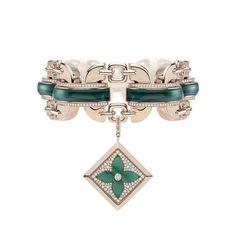 Bracelet en or rose, diamants et malachite