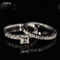 white gold princess cut solitaire with matching diamond set band. in Nundah Village, North Brisbane Fine Jewelry, Jewelry Making, Jewellery, Princess Cut, Diamond Engagement Rings, Jewelry Collection, White Gold, Wedding Rings, Jewels