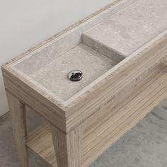 Umi M Box single sink | Breccie - wastafel uit natuursteen op bamboe onderstel