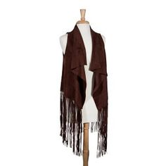 $64 Brown vest with long fringe detail. 100% Polyester. One size fits most.