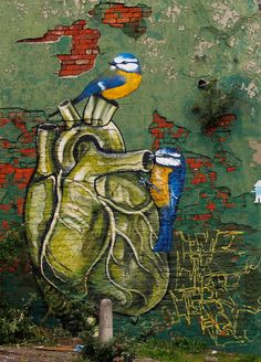 """""""Home Is Where The Heart Is"""" by Rocket01 & Faunagraphic  #anatomy #streetart #heart #birds"""