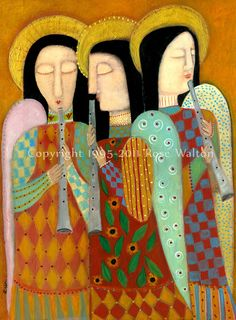 This print is of The Angels of God Trio, a painting by Rose Walton. A trio of colorful angels make music.    This 5x7 print is from an original