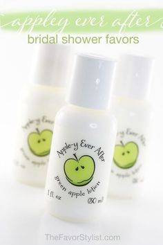 "You're sharing bushels of love with your favorite people at your apple-theme party. How about apple-scented gifts for your guests? Click to see how we can help you ""pick"" the perfect favor! #bridalshower, #partyfavors, #girlsnight, #appletini, #personalized  A recent customer said, ""People could not stop raving and I owe so much of it to you!"" Spa Party Favors, Bachelorette Party Favors, Bridal Shower Favors, Birthday Party Favors, Wedding Favors, Wedding Decorations, Apple Theme Parties, Apple Invitation, Tea Party"