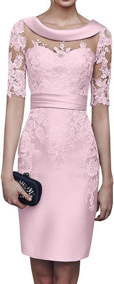 Royaldress Damen Hundkragen Spitze Abendkleider Ballkleider Partykleider Brautmutterkleider Knielang mit Kurzarm-38 Rosa: Amazon.de: Bekleidung