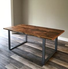 Reclaimed Douglas Fir dining table with modern leg West Elm Dining Table, Steel Dining Table, Dining Table Legs, Wood And Metal Table, Wooden Tables, Farm Tables, Colorful Furniture, Metal Furniture, Repurposed Furniture