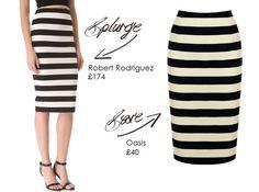 save or splurge: stripe pencil skirts