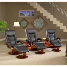 mac motion set of three black top grain leather swivel, recliner with ottoman with theater table sku#40395279
