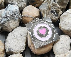 Portal Necklace, Companion Cube Necklace, Cube Pendant, Pink heart necklace, Glados Necklace, Geekery Necklace, Video game necklace