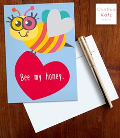 Valentines Day Printable Card // Bee Card // by CynthiaKatzDesign #valentinesday #valentinescard #cynthiakatz