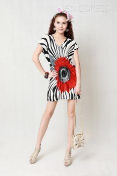 Pretty Loose V-neckline Tie Elastic Waist Casual Dress $8.59  #plussize