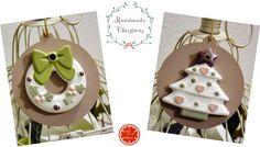 2015 - Palle di Natale Stile Shabby - Con decorazioni in Gesso con polvere di ceramica dipinto a mano, montato su base di legno dipinta