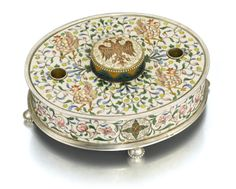 A Fabergé parcel-gilt silver and cloisonné enamel inkwell, Moscow, 1899-1908 | Sotheby's