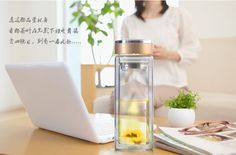 1PC 2016 320ml  water bottle Double layer glass transparent heat-resistant cup with filter leakage proof hot selling J1462