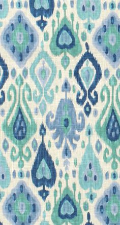 recommended by blogger: Onlinefabricstore.net Richloom Django Turquoise Fabric #ikat #blue #tuquoise