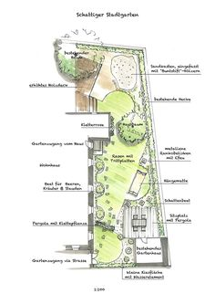 Best garden design narrow 52 Ideas - New ideas Landscape Plans, Landscape Architecture, Landscape Design, Obelisk, Narrow Garden, Plan Sketch, Garden Design Plans, Color Plan, Landscape Drawings