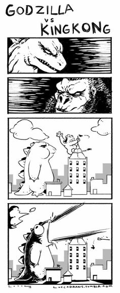 Godzilla vs King Kong est prévu pour voilà ce que ça devrait donner King Kong Vs Godzilla, Godzilla Godzilla, Video Humour, Know Your Meme, Funny Comics, Best Funny Pictures, The Funny, Daily Funny, Funny Memes