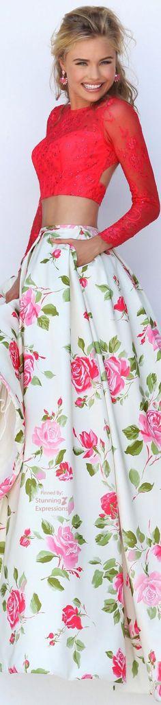 Sherri Hill top saia floral longa