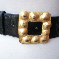 """chic! vintage BLACK Croco textile Leather Saddle Wide Wrap Belt; Gold Bronze Metallic Rocky Heavy Metal Textured Buckle  DESIGNER: Albatros; made in Italy Marked SIZE:  medium; will fit waist 30"""" to 34""""; width 2"""" Material:  leather Condition: Great Vintage Condition  Additional belts are a..."""