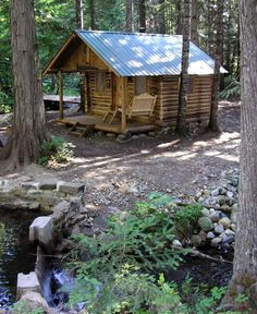 Our Guest Cabin. A very nice little option for not a lot of money Small Log Cabin, Tiny Cabins, Little Cabin, Log Cabin Homes, Cabins And Cottages, Cozy Cabin, Log Cabins, Forest Cabin, Forest House