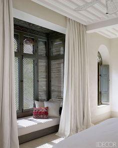 TheDesignerPad - The Designer Pad - MOROCCANREVIVAL Interior Architecture, Interior And Exterior, Room Interior, Tadelakt, Bedroom Windows, Bedroom Nook, Master Bedroom, Bay Windows, Windows Decor