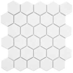 Merola Tile Metro Hex 2 in. Matte White 10-1/2 in. x 11 in. x 5 mm Porcelain Mosaic Floor and Wall Tile (8.02 sq. ft. / case)-FXLM2HMW - The Home Depot - $6.95/sf