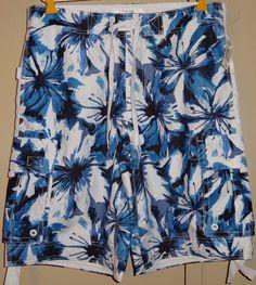 Aeropostale Mens Size M Blue White Hawaiian Bathing Suit Cargo Shorts New NWT #Aropostale #Trunks