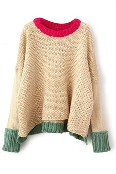 ROMWE | Asymmetric Color Block Khaki Jumper, The Latest Street Fashion