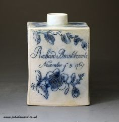 tea caddies pottery   Early saltglaze pottery scratch blue decorated tea caddy named and ...