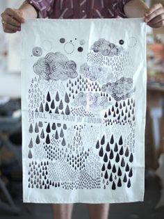 london rain tea towel