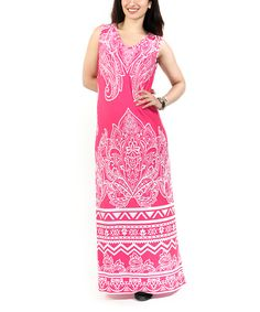 Another great find on #zulily! Pink & White Paisley V-Neck Maxi Dress - Plus by Shoreline #zulilyfinds