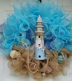 Designer nautical, beach, coastal mesh wreath with lighthouse, shells and float (door crafts deco mesh) Door Crafts, Wreath Crafts, Diy Wreath, Wreath Ideas, Tulle Wreath, Wreath Making, Coastal Wreath, Nautical Wreath, Arts And Crafts Storage