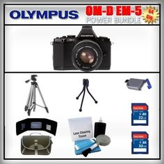 Olympus OM-D E-M5 Black 16MP Digital Camera - Olympus 14-42mm Lens - 2x 32GB SDHC Memory Card - USB Memory Card Reader - Memory Card Wallet - Carrying Case - Lens Cleaning Kit - Full Size and Mini Tripods by Olympus. $1139.99. Olympus OM-D E-M5  The OM-D's new electronic viewfinder (EVF), with 120 fps refresh rate, features a high-resolution 1.44-million dot LCD, 100% field-of-view coverage, and 1.15x maximum magnification that let you totally immerse yourself in your...