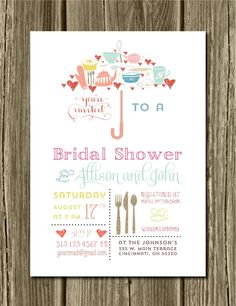 kitchen bridal shower invitation - printable file 5 x 7 and