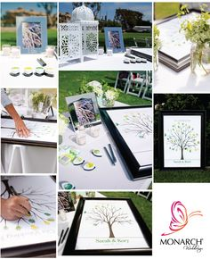 Wedding Guest Book Idea - guests use their finger prints in different colors creating a leaf & sign it. A neat alternative to the traditional guest book because it's something you will actually put up in your home.    Wedding Coordinator: Monarch Weddings  Photo: Malia Dadez Photography