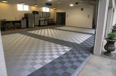 Garage Workshop Ideas and Metal Building Shop House Plans and House, Tile Design, Garage Floor Mats, Floor Tile Design, Garage Interior, Garage Floor Tiles, Flooring, Cheap Garage Doors, Garage Flooring Options